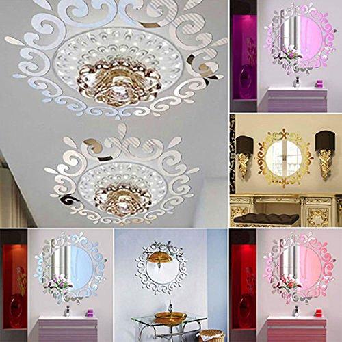 ZREAL 3D Wandaufkleber Zimmer Acryl Aufkleber Kunst DIY Spiegel Licht Dekor Dekoration (Spiegel Für Wand-dekor)