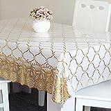 Hctina Modernen PVC-Tischdecke transparent weichem Glas und Bettwäsche Sonnenblume 80x80cm