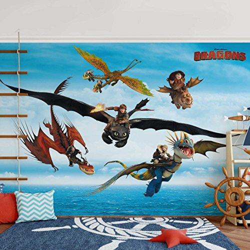 Bilderwelten Vliestapete - Dragons - Flug übers Meer - Fototapete Quer Vlies Tapete Wandtapete Wandbild Foto, Größe HxB: 225cm x 336cm