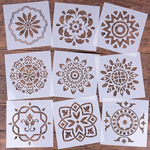 Mandala wiederverwendbare Schablonen-Set (15,2 x 15,2 cm) Malschablone, Lasergeschnittene Malvorlage für DIY Dekor, Malen auf Holz, Airbrush, Felsen und Walls Art