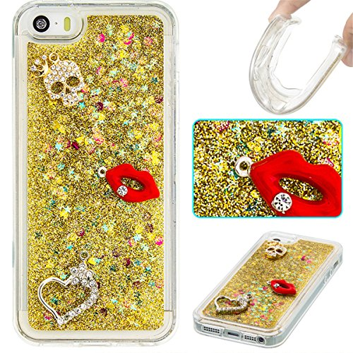 iPhone 5C Hülle, 5C Hülle, Gift_Source [ Silber & Crown Angel ] Glitzer Hülle , Liquid Case, Glitter Hülle Cool 3D Fließen Flüssig Bling Schwimmend Treibsand Stern Luxus Shiny Case Glanz Shiny Effekt  E1-Gold & Red Lippen