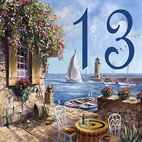 Azul'Decor35 Plaque avec numéro de maison personnalisée, originale et à petit prix, en faience – Choisissez votre numéroet la taille de votre plaque de rue !