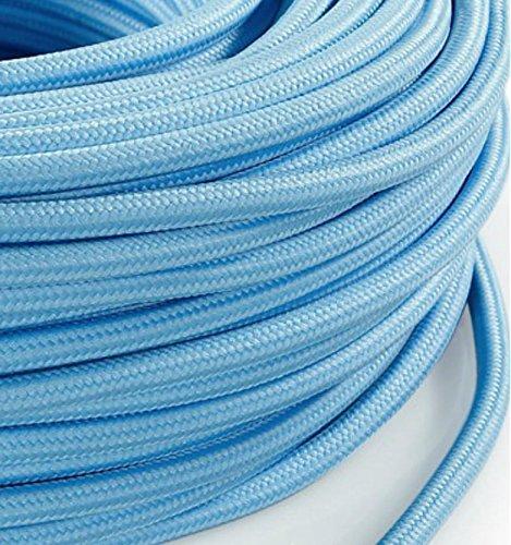 Elektrische Kabel in farbigem Stoff beschichtet. Made in Italy! 10 Meter 3x0, 75 Farbe: HellBlau PastellFarben (Seide Pastellfarben)