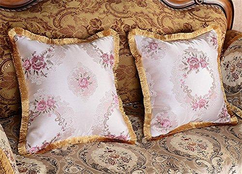 GMM® Kissen aus europäischer Stil aus Baumwolle waschbar Kissen Sofa Bett Kissen Büro Auto Lendenwirbelsäule sicher für die Umwelt purple 60*60cm Gelb Voll Kopfteil