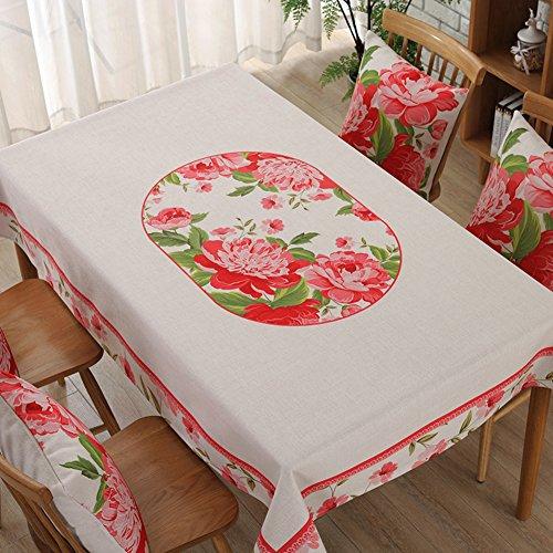 Pastoral Coton et Lin nappes en Tissu Couverture American Style café Serviette épaisse Table Ronde rectangulaire Housse -D 140x200cm(55x79inch)