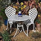 BETTY Set da bistrot con tavolino e 2 sedie in alluminio bianco