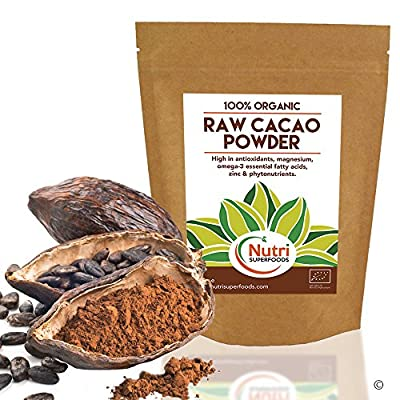 RAW Organic Cacao Powder | #1 Best Magnesium Rich Superfood | Highly Nutritious Vegan Protein | Premium Quality | Non Dairy Dark Chocolate Ingredient | Versatile and Ideal for Baking | Power Smoothies | Raw Energy Bars Nutri Superfoods