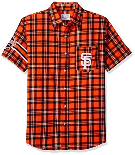 FOCO KLEW MLB San Francisco Giants Wordmark Flanell Kurzarm Knopfleiste, Herren, Team Color, X-Large