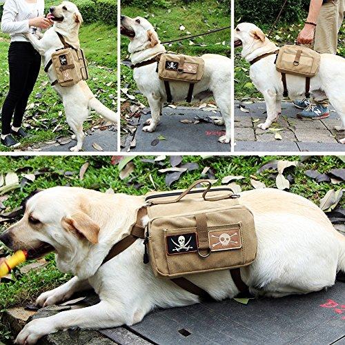 Binky Rucksäcke Baumwolle Outward Pet Dog Pack Travel Camping Wandern Satteltasche für mittelgroße und große Hunde