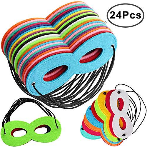 Outee 24 Stück Superheld Masken Filz Masken Superhero Cosplay Hälfte Party Masken mit Elastischen Seil für Erwachsene und Kinder Party, Multicolor