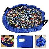 BELLESTYLE Kinderspielmatte und Spielzeug Aufbewahrungstasche Tragbare Spielende Kinder Spielzeug Organizer Schnell Beutel, ideal für die Aufbewahrung von kleinen und mittleren Spielzeug wie LEGOS (Blau, 60 Zoll)