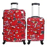 Karabar Valise Rigide Polycarbonate à roulettes pivotantes de qualité supérieure avec Serrure intégrée - Ensemble Lot de 2 valises rigides pièces, Dewberry Rouge
