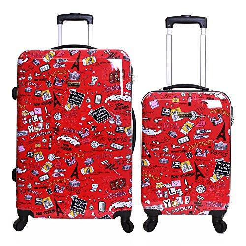 Karabar 2er Koffer-Set Trolley-Set Rollkoffer Hartschalen-Koffer Reisekoffer Große XL und Handgepäck Gepäck Polycarbonat PC mit 4 Rollen und Integriert Nummernschloss, Dewberry Rot - Voll Gefüttert-gepäck-set