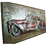 mosa designs Metallbild 3D Wandbild Auto Oldtimer Autobild Vintage 3D Bild Metallauto Sportwagen 150x75cm