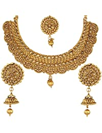 Jewels Gehna Antique Fashionable Gold Plated Latest Designer Funky Necklace Set For Women & Girls