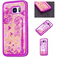 Galaxy S7 Case , Fashion Young Style SUPREDE Galaxy S7 Case Cover, Non Slip Lovely Glitter Dynamic Flowing Liquid Quicksand Soft Edge Case with Floating Bling Love Heart Inside for Galaxy S7 (Pink 1#)