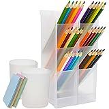 Qualsen 4 Pièces organiseur bureau, stylo crayon Rangement Pour Bureau, à L'école, à La Maison Fournitures, blanc translucide