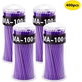 Surplex 400 stuks wegwerp-wattenstaafjes, microbrush-microborstels, reinigingsstaafjes voor het minipeiland, wimperverlenging