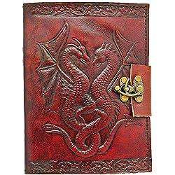 'ZAP Impex® hecha a mano piel Journal–Diario con candado Ordenador Portatil Cuaderno de bocetos (con vaciado Bolsa de papel Notepad doble dragón piel libro vacía cuerda (7x 5)