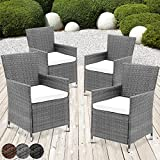 Miadomodo Garden Furniture Set of 4 Rattan Chairs & Seat Cushions Washable (Grey)