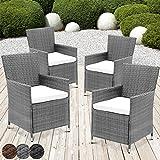 MIADOMODO Rattansessel mit Armlehne Stuhl Sessel Garten Stuhl Rattan Outdoor im Set 4 Stück mit Sitzkissen in verschiedenen Farben (Grau)