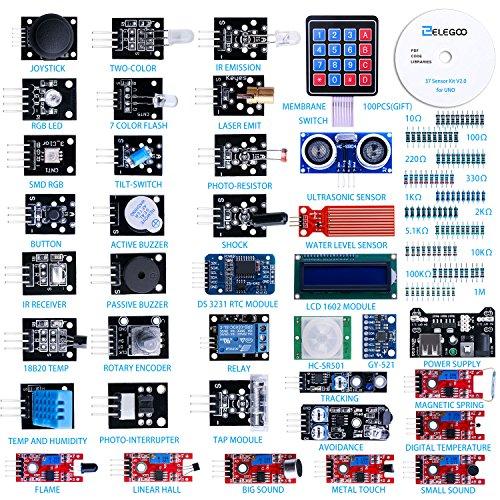 Elegoo Kit de 37-en-1 Modules Capteurs V2.0 avec Tutoriels en Anglais Composants Electronique Sensors pour Arduino