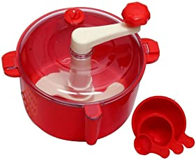 FASTECK ABS Atta Dough Kneader Maker Kitchen Set with Measuring Cups (Aata Maker) (Red, 1 L)