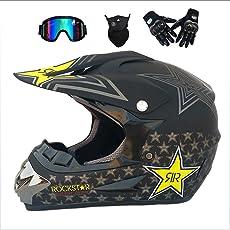 JINWEI Dual Sport Motocross Helm & Adult MX Motocross Handschuhe Brillen Maske