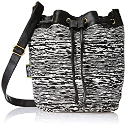 Kanvas Katha Womens Handbag (Black & White) (KKBKT001)