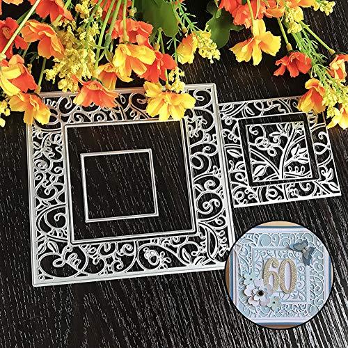 Stanzformen, quadratischer Rahmen, Metall, zum Basteln, Scrapbooking, Album, Karten, Hintergrund (Groß W Halloween-ausstechformen)