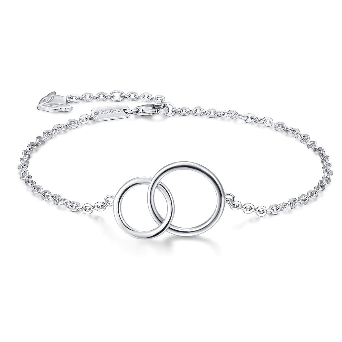 Blingfox 925 Sterling Silver Two Interlocking Infinity Circles Bracelet for Sister Friend Mother