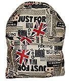 Zaino con motivo bandiera Union Jack e giornali, Londra, per adulto o studente, scuola, liceo (Union Jack) beige union jack