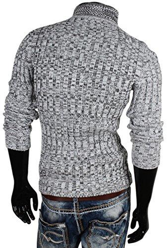 EMIMAY Herren Grobstrick Pullover Größe S-XXL Weiß