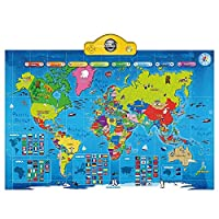 Think Gizmos Interactive Talking World Map for Kids TG661 - Push, Learn and Discover over 1000 facts about our World - Ideal Interactive Learning Toy Gift For Boys & Girls Aged 5,6,7,8,9,10