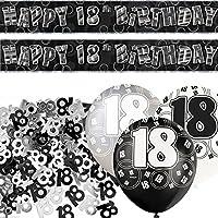 Black Silver Glitz 18th Birthday Banner Party Decoration Pack Kit Set