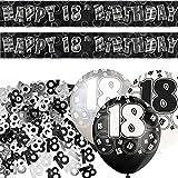 Black Silver Glitz 18th Birthday Banner Party Decoration Pack Kit Set by Happy Birthday