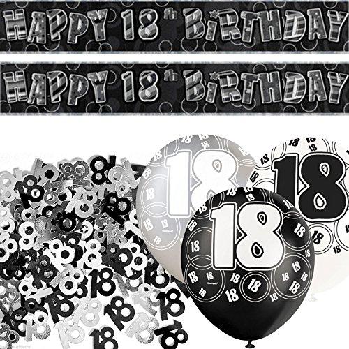 Kit de décoration de fête Noir et Argent 18 ans 0705332343664