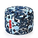 Style Homez Round Cotton Canvas Floral Printed Bean Bag Ottoman L Sizewith Fillers