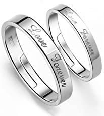 Sansar India Forever Love Couple Free Size Adjustable Ring for Men and Women 1421