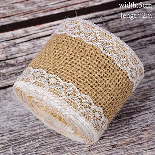 KHKJ DIY 2m Burlap Ribbon Vintage Wedding Ceremony Sisal Lace Trim Jute Hessian Rustic Weddings & Events Party Favors Birthday Striped Lace Trim