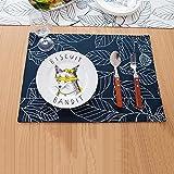 4er Set Tischsets Leinen Baumwolle Abwaschbar Leafs Tisch Platzsets Hitzebeständig Abgrifffeste Platzdeckchen für küche Speisetisch 32*45cm Blau