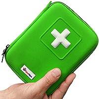 MediSpor Erste Hilfe Set - für Notfälle in der Familie - Ideal für Zuhause Auto Reisen Camping und Outdoor Aktivitäten - 100Stück in grüner halbharte Tasche