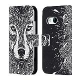 Head Case Designs Wolf Doodle Mix Brieftasche Handyhülle aus Leder für HTC One Mini 2