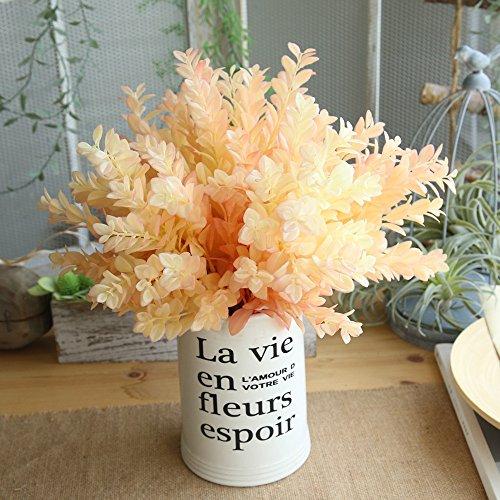 QHJ Kunstblumen,Orange Künstliche Plastikkleine Blätter Pflanzen Eukalyptus Gras Ausgangshochzeits Dekor Künstliche Blume des Eukalyptusgeld Blattes (Orange) -