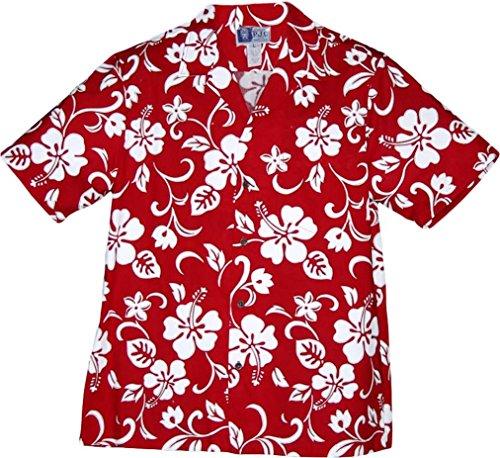Hibiscus-aloha-shirt Herren (RJC Brand Hibiscus Pareo Herren Hawaii-Shirt - Rot - 3X)