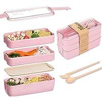 Eastor Lunch Box, Bento Box, Anti-Fuite Écologique Bento, Blé Naturel 3 Compartiments 900ml Anti-Fuite Écologique Boîte…