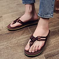 fankou Summer Sandals Men's Men's Field and Trendy Clip Pin Personalized Couples Large Code Beach Slippers,38, Dark Brown (m)