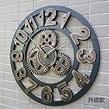 Komo Geräuscharm Ziffernblatt kein nerviges Ticken Küchenuhr Mute Retro Kreative Clock Art Wall Clock Wohnzimmer Einrichtung personalisierter Industrial Gear Wanduhr 45 cm