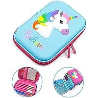 Decor Express Multipurpose Stylish Unicorn Print Large Capacity Pencil Case, Pen & Pencil Pouch Bag Case for School Supplies for Kids, Pouch for Girls (Believe Unicorn,Blue)