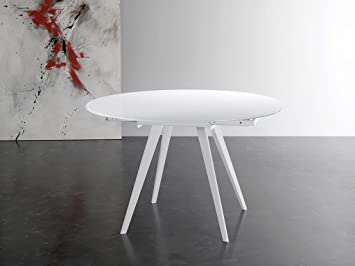 Eurosedia - ARGO tavolo rotondo allungabile in vetro, Colore ...
